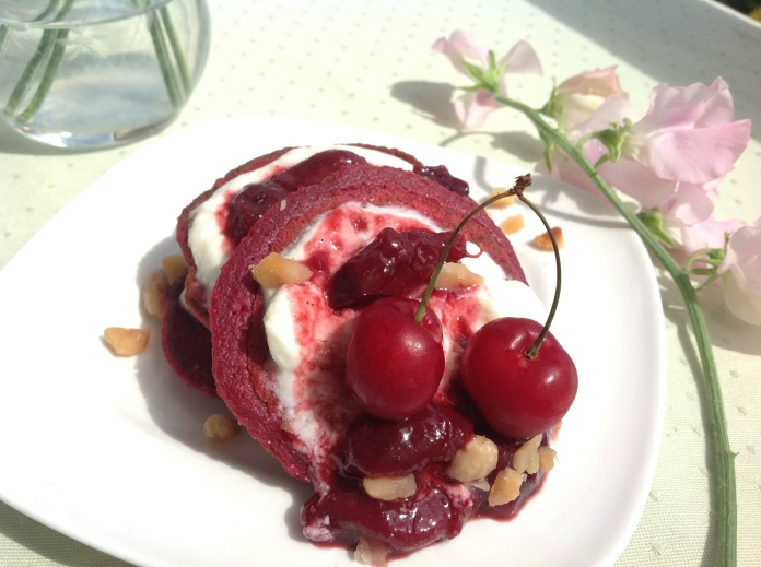 beetroot pancake cherry stack 2