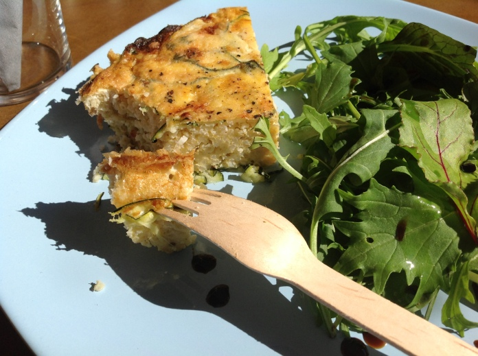 millet frittata slice and fork
