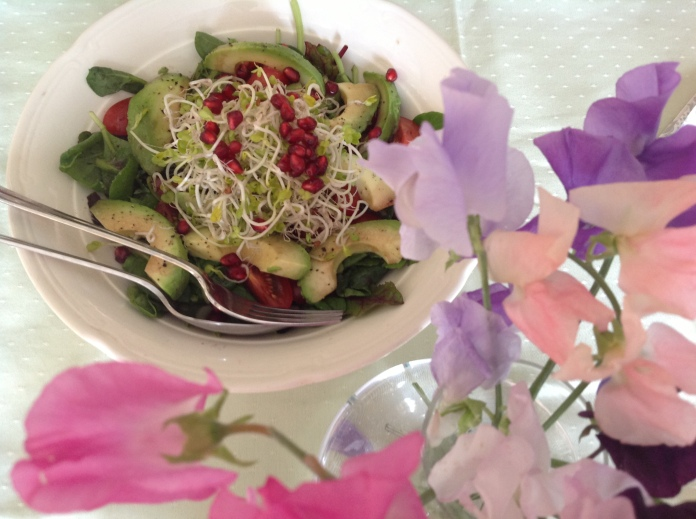 sprout avocado and pomegranate salad